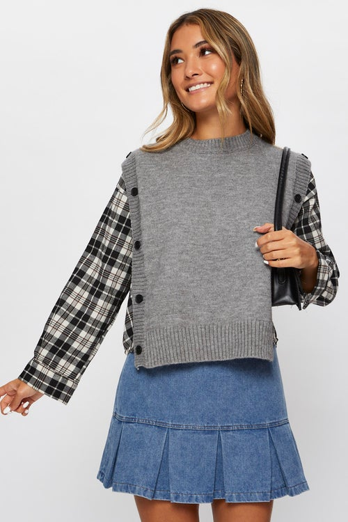2 in 1 Vest Check Shirt