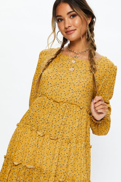 3/4 Sleeve Cheesecloth Tiered Swing Dress
