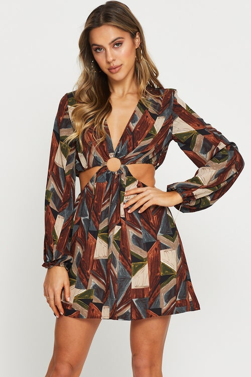 Abstract Print Cut Out Dress