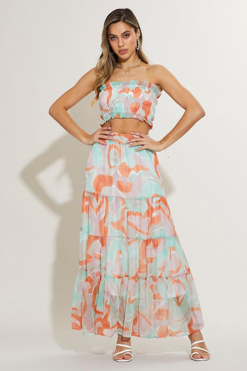 Abstract Print Tiered Maxi Skirt