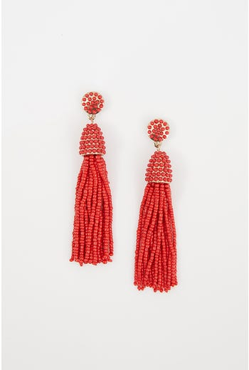 NYLA ROSE BEADED TASSEL EARRING