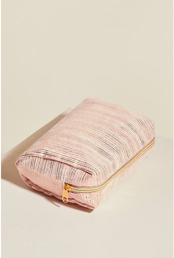 METALLIC STRIPE MAKE UP BAG