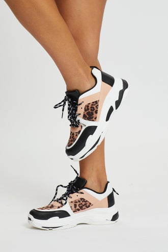 Animal Patch Chunky Heel Sneakers
