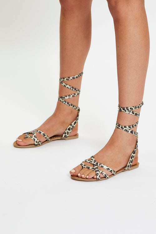 Animal Print Ankle Straps Sandals