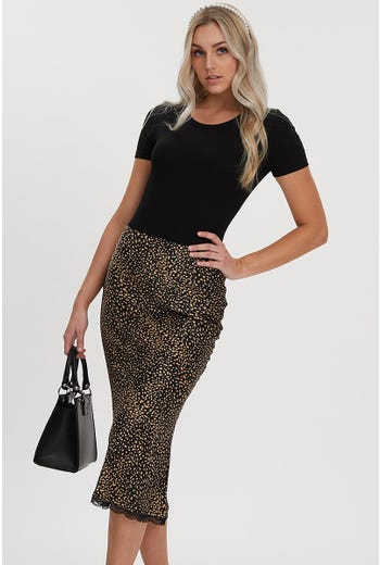 ANIMAL PRINT LACE TRIM SLIP SKIRT