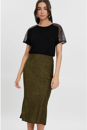 Animal Print Slip Skirt