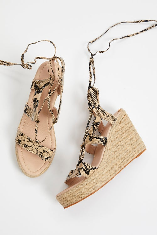 Snake Print Lace up Strappy Wedges