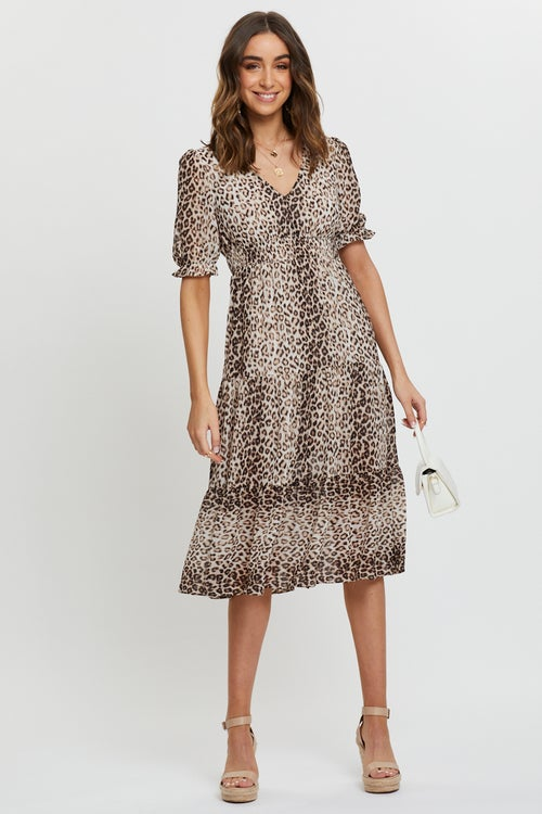Animal Print Tiered Midi Dress