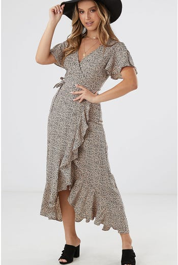 ANIMAL WRAP MAXI DRESS