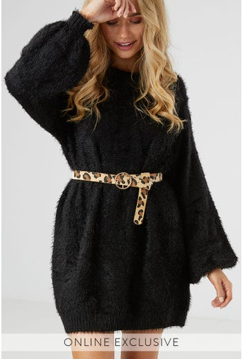 ARIANA FLUFFY KNIT DRESS