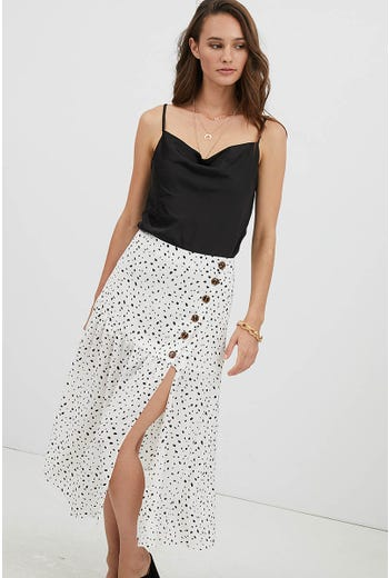 ASYMMETRIC BUTTON FRONT GEO MIDI SKIRT