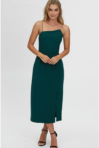 ASYMMETRIC STRAP MIDI DRESS