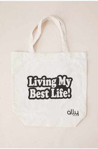 LIVING MY BEST LIFE CANVAS TOTE
