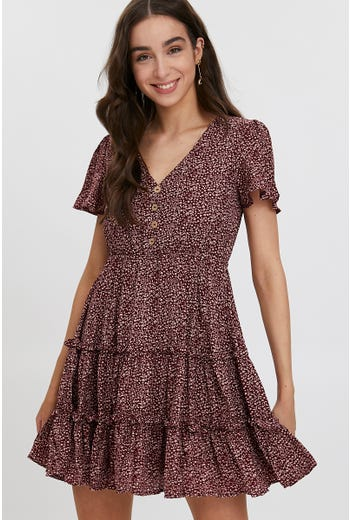 Bell Sleeve Ditsy Ruffle Dress