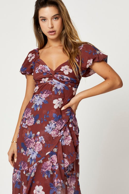 Brown Floral Sweetheart Button Front Midi Dress