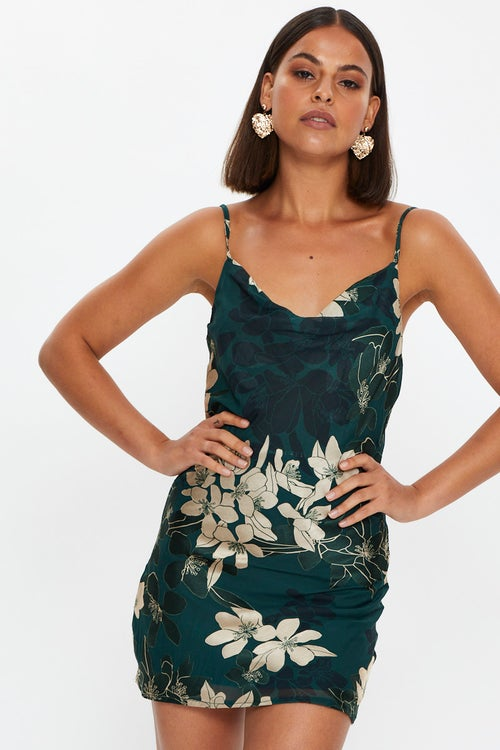 Burn Out Floral Print Cowl Neck Mini Slip Dress
