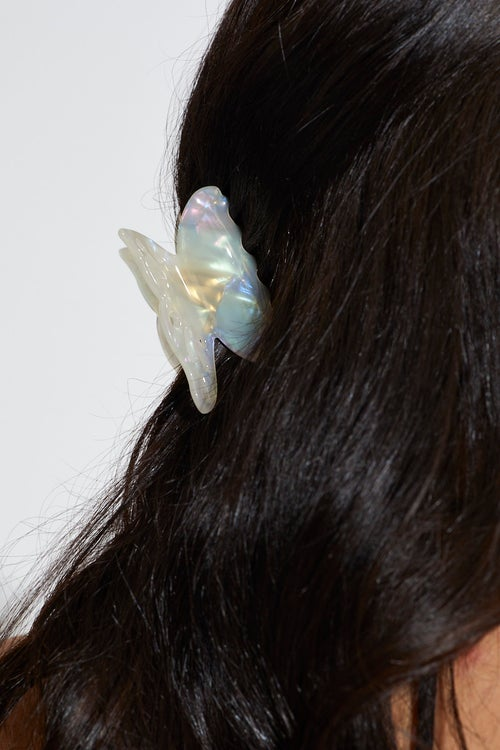 White Butterfly Resin Hair Claw Clip