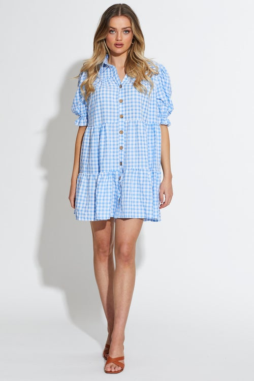 Button Front Gingham Smock Dress