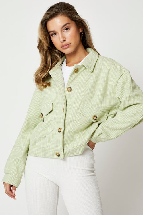 Check Button Front Jacket
