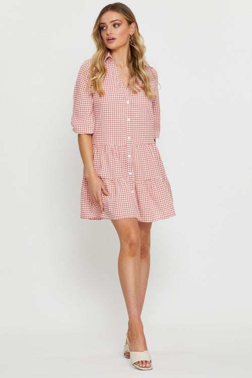 Check Button Front Smock Dress