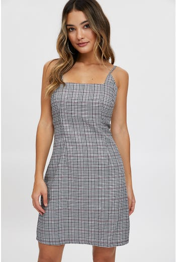 CHECK SQUARE NECK DRESS