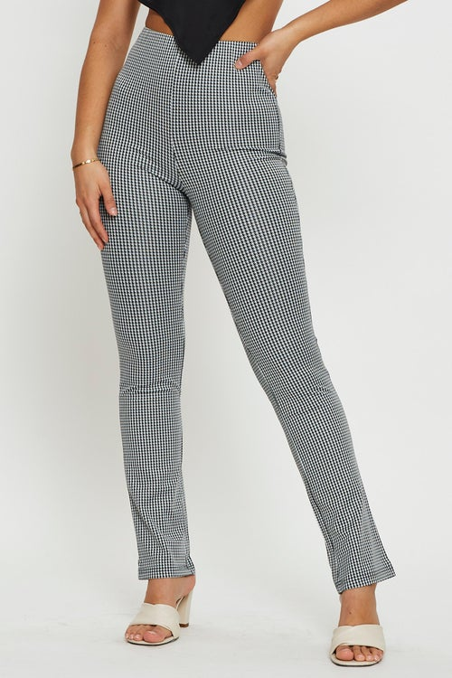 Check Stretch Fabric Straight Fit Crop Pants