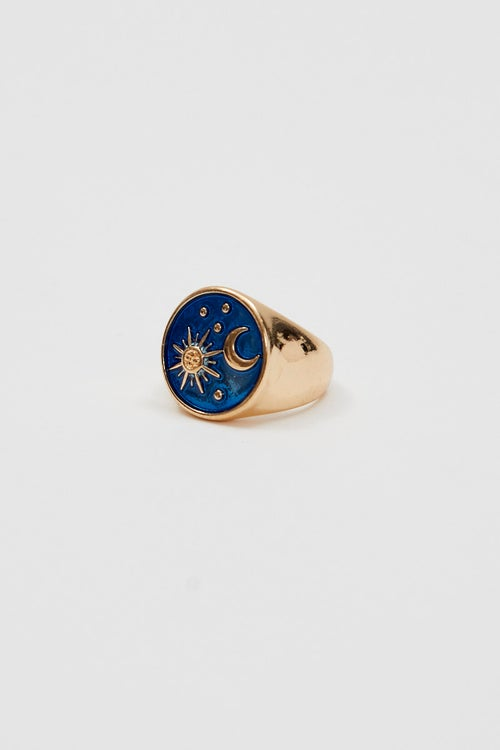Chunky Astrology Star And Moon Ring