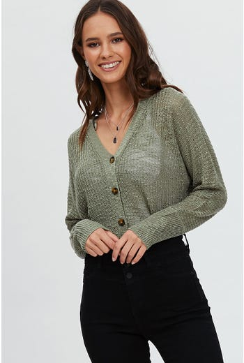 CROP BUTTON CARDIGAN