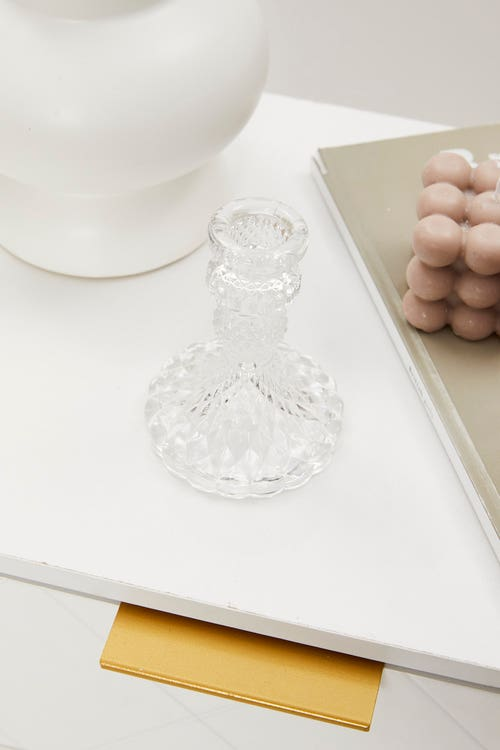 Clear Intricate Candle Holder
