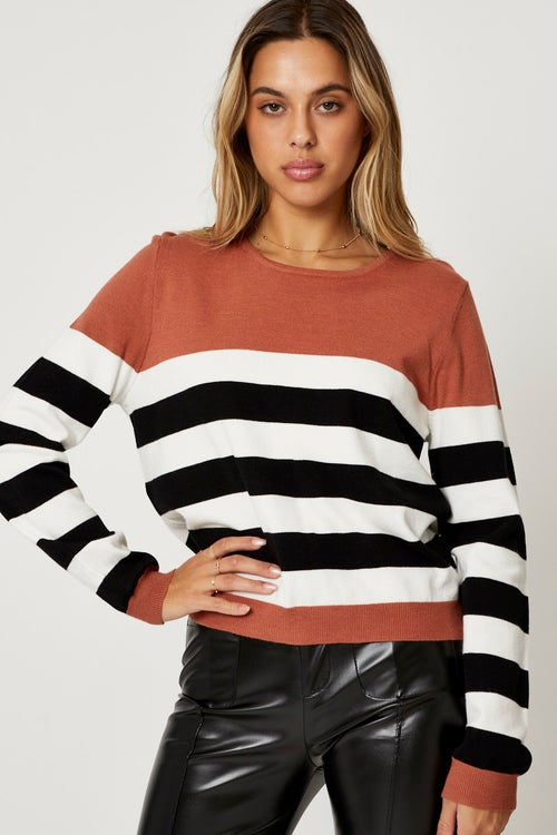 Color Block Knit Round Neck Top