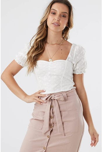 COTTON EYELET PUFF SLEEVE CROP TOP