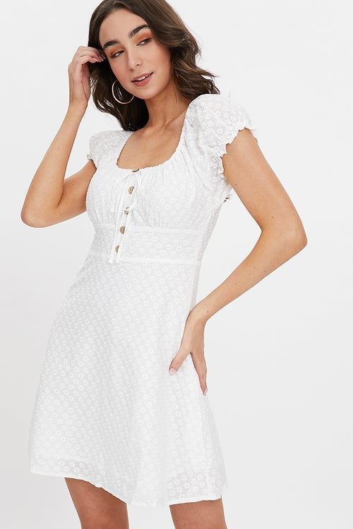 COTTON EYELET PUFF SLEEVE DRESS