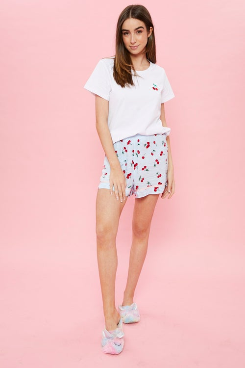 Cherry Tee And Shorts Pyjama Set