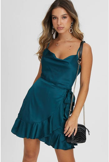 COWL NECK WRAP SATIN DRESS