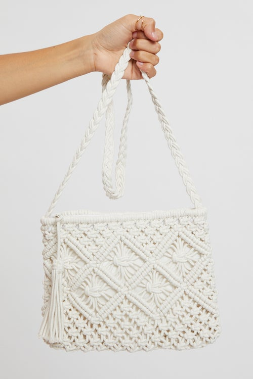 Crochet Top Zipper Tote Bag