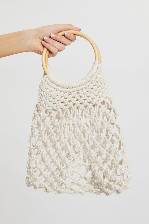 Crochet Wooden Handle Tote Bag
