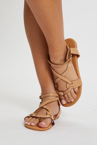 Cross Over Ankle Strap Flat Sandals
