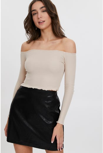 CURLY BINDING BARDOT CROP TOP