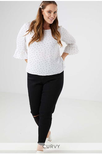 TEA TIME FRILL SLEEVE BLOUSE