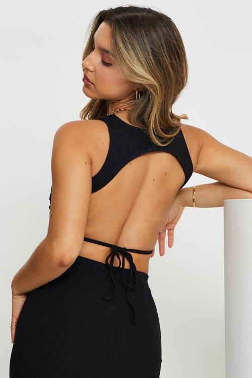 Cut Out Strappy Ribbed Crop Top