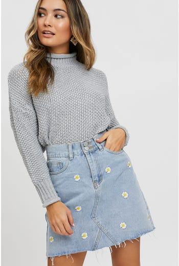Daisy Embroidered Denim Skirt