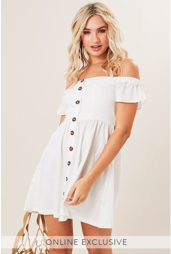 OFF SHOULDER BUTTON DRESS