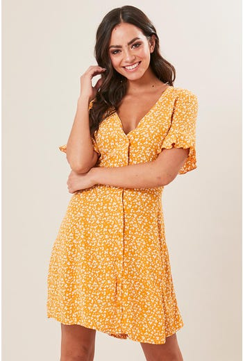 MUSTARD DITZY SKATER DRESS