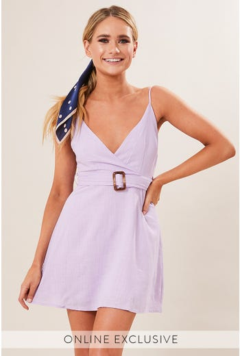 BELTED CROSS FRONT DRESS