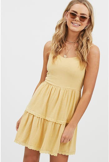 EYELET TRIM SWING DRESS