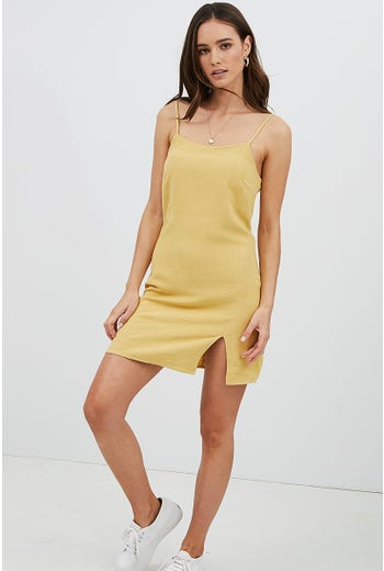 SPLIT HEM SQUARE NECK DRESS