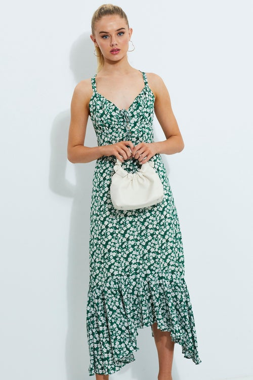 Designer Ditsy Print Lace Up Gathered Bust Maxi