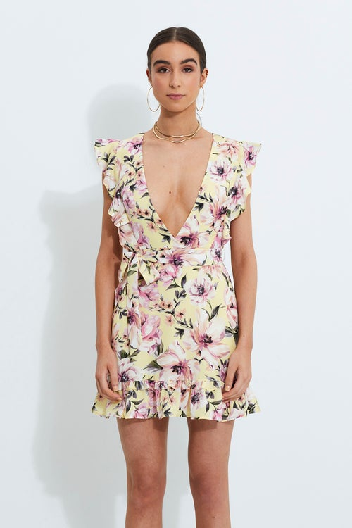 Designer Floral Plunging Dress With Ruffles