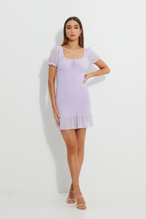 Designer Lilac Puff Shoulder Milkmaid Shirred Dress