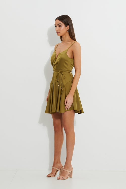 Designer Plunge Front Satin Dress